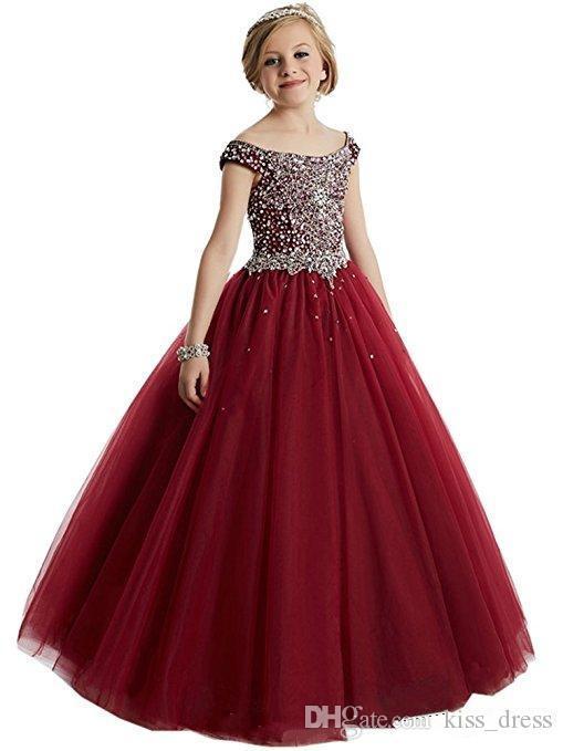 Bling Bling Princess Long Flower Girl Dresses 2019 Nuovi Branelli Off-the-spalla Cristalli Tulle Ball Gown Abiti per bambini Bambino Pageant Dress F53
