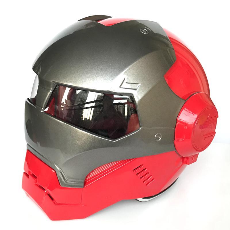 Gris clair Rouge MASEI IRONMAN Fer demi-casque moto casque homme ouvert visage de casque S M L XL