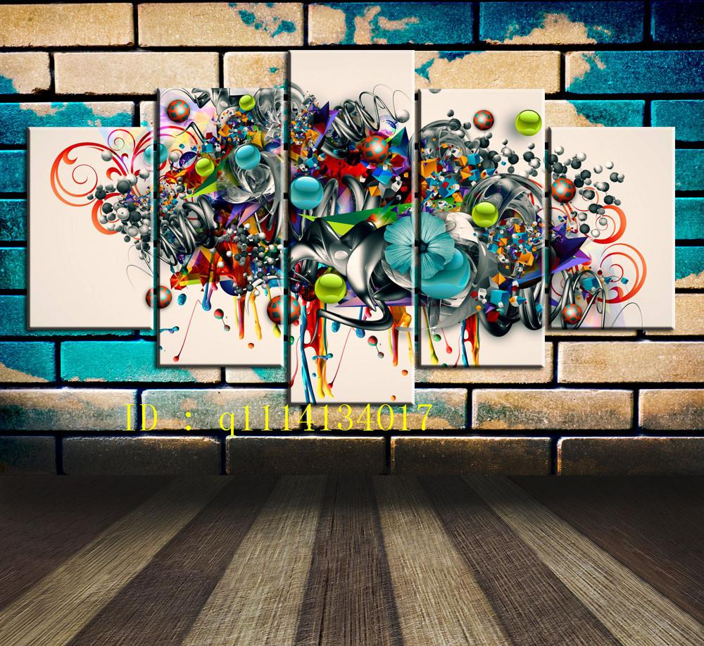 Graffiti Art Music,5 Pieces Canvas Prints Wall Art Oil Painting Home Decor /(Unframed/Framed)