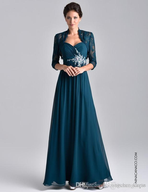 2019 Plus Size Teal Blue Chiffon Mother Of The Bride Dress Long Sleeve With Lace Jacket Crystal Beaded Mother Evening prom groom Gowns