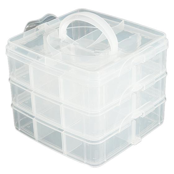 Practical Boutique Large Plastic Grid Craft Beads Jewellery Storage Organiser Compartment Box Case