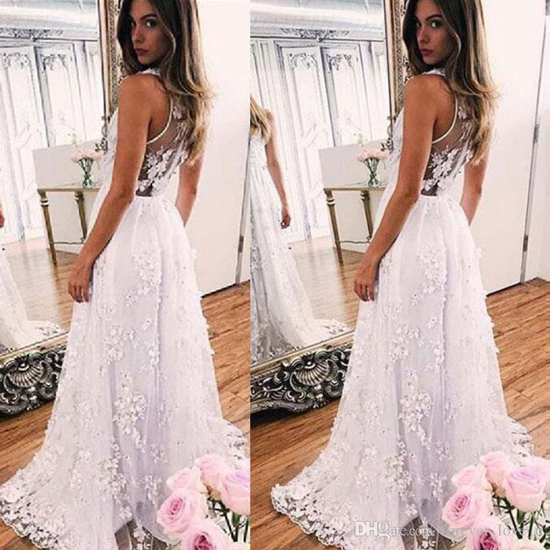 2019 Sexy Bohemian Brautkleider tiefer V-Ausschnitt Ärmel wulstige Spitze Sheer Zurück Brautkleider mit Sweep Zuge Boho Hochzeit