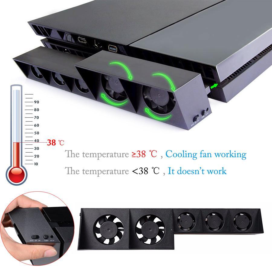 Ventilador de enfriamiento USB PS4 Ventilador de control de temperatura Turbo externo para S Playstation 4