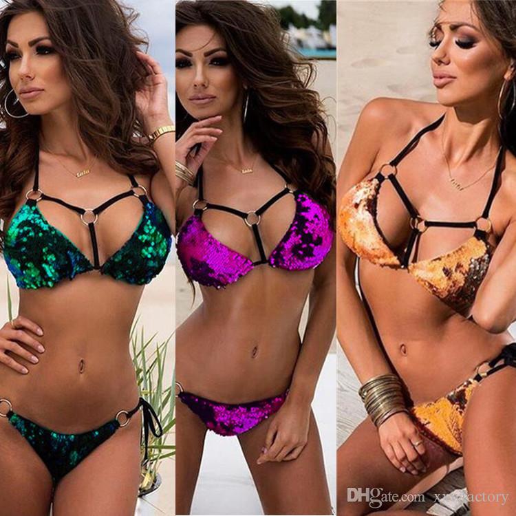 2018 Nouveau Sexy Brillant Sequin Bikini Ensemble Bandage Maillot De Bain Lumineux Maillot de Bain pour Femme 3 Couleurs Maillots De Bain Femmes Plavky
