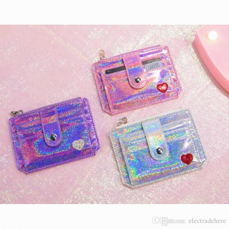 Card Holder Case Novelty Laser bright crystal Neck Hanging & Key Hook BUS & ID Card Holder Case Pouch BAG Women Holder