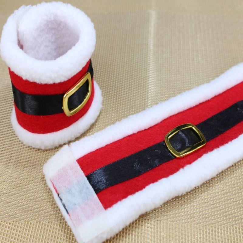 4 pezzi portatovaglioli di natale Babbo Natale cintura fibbia titolare tovagliolo a forma di stoviglie di Natale per la casa decorazioni da tavola n