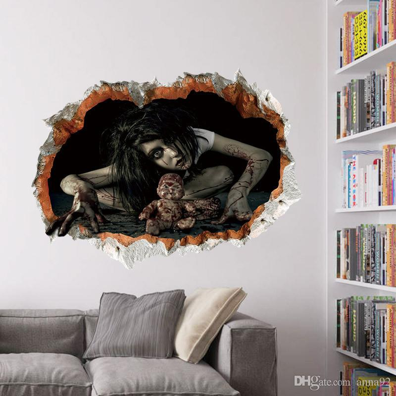 45*60cm Halloween Decoration 3d View Scary Bloody Broken Ghost Sticker Home Halloween Party DIY Decoration free shipping hot sale wholesale