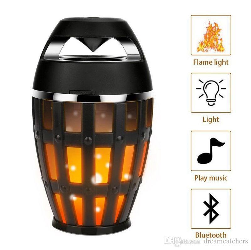 Fire Effect Bluetooth BT Speaker Wireless Led Flame Soft Light Dancing Flicker Torch Outdoor Lamp Bass Sound V4.2 Speaker