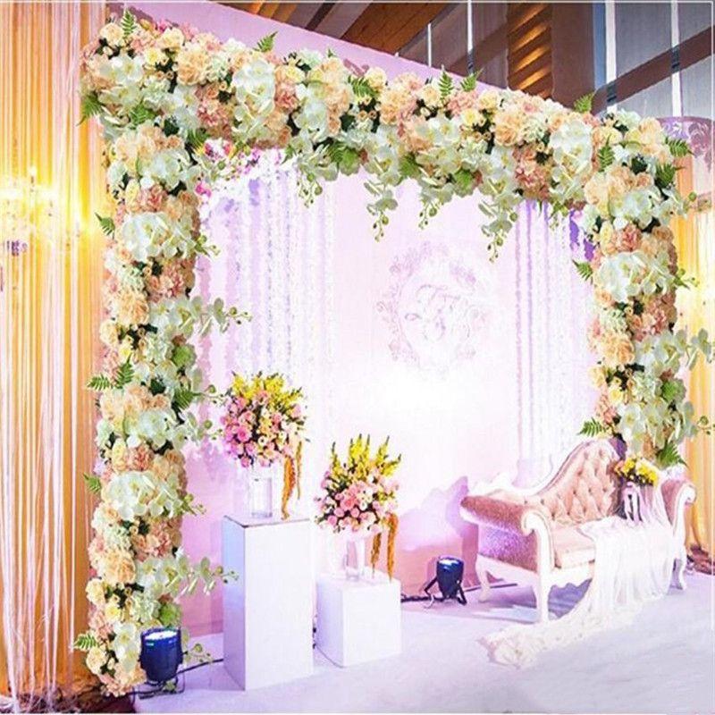 100cm artificial Arco flor Fila de Mesa Centros de la cadena por un banquete de boda del Camino Citado Flores Decoración