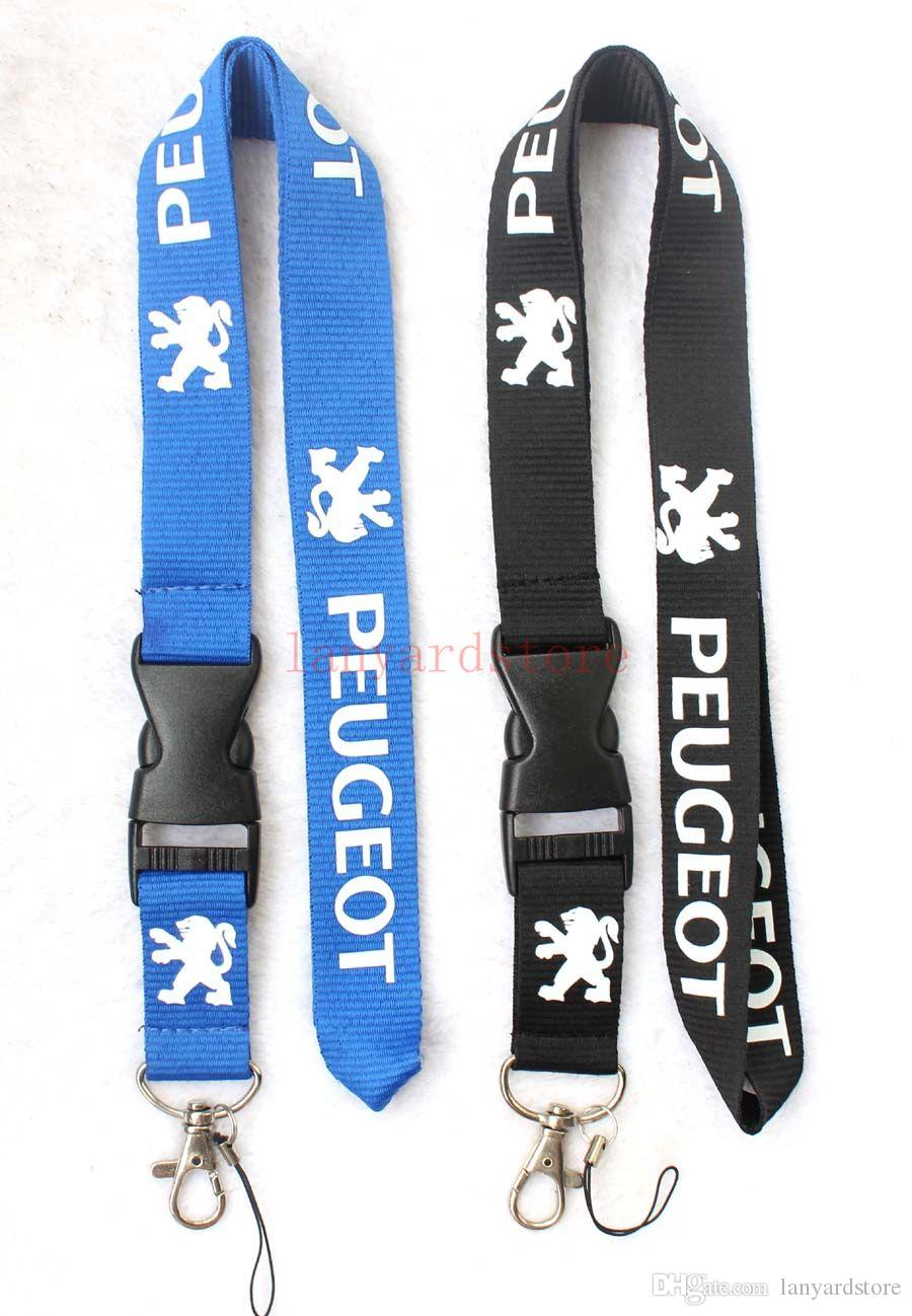 The charisma of a car PEUGEOT Lanyard Keychain Key Chain ID Badge cell phone holder Neck strap black.
