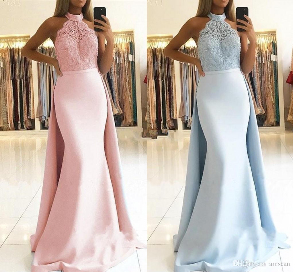 2019 Halter-Ansatz Nixe-Abschlussball-Kleid mit abnehmbarem Zug nach Maß Bridemaids Kleider SpitzeAppliques elegante Abend-Kleid-Partei-Wear