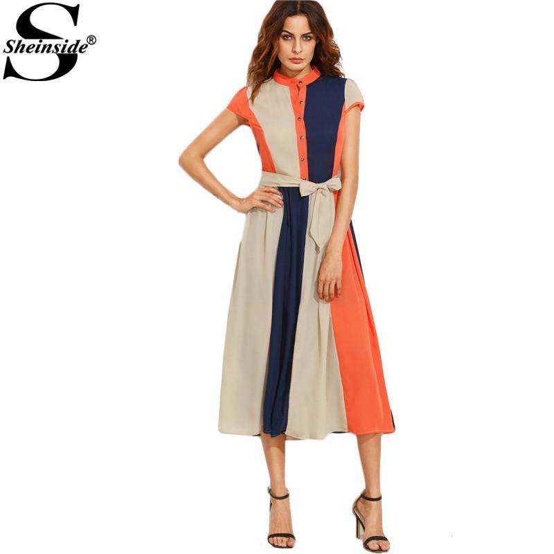 X Sheinside Color Block Women Dress 2017 Bow Tie Waist Buttons Midi Dress Office Ladies Stand Collar Short Sleeve A Line Dress
