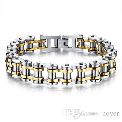 Bike Bicycle Chain Link Bracelets For Men Stainless Steel Chunky & Two Tone 21.5CM Long Male Jewelry Gift