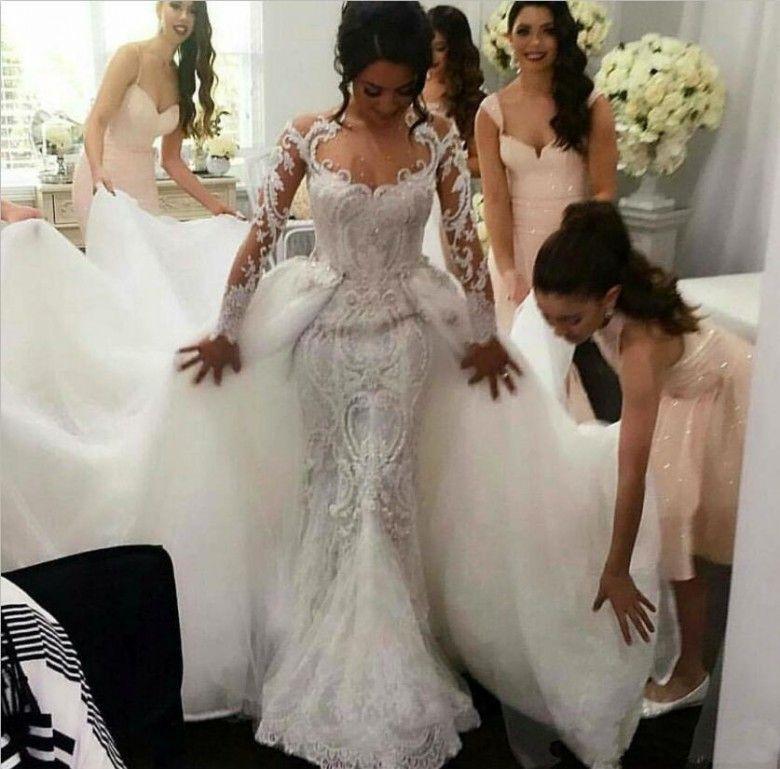 Modest Overskirt Mermaid Wedding Dresses with Detachable Train Tulle Sheer Neck Long Sleeves Pearls Vintage 2018 Berta Bridal Gowns