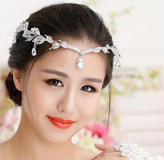 1 Adet Gümüş Kristaller Rhinestones Yapraklar Baş Zincir Takı Forehead başlıkiçi Gelin elmas Düğün Saç Aksesuarları