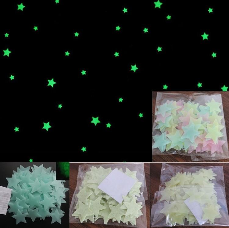 Glow In The Dark Star Moon Stickers Noctilucent Christmas snowflake Wall Stickers Baby Kids Ceiling Room Decal Home Decoration
