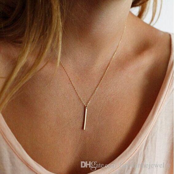 Anhänger Halsketten Art- und Weisefrauen kurze Gold überzogene geometrische Metallbügel-Schlüsselbein-Kettenhalsketten-Schmucksache-Großhandelstropfenverschiffen SN585