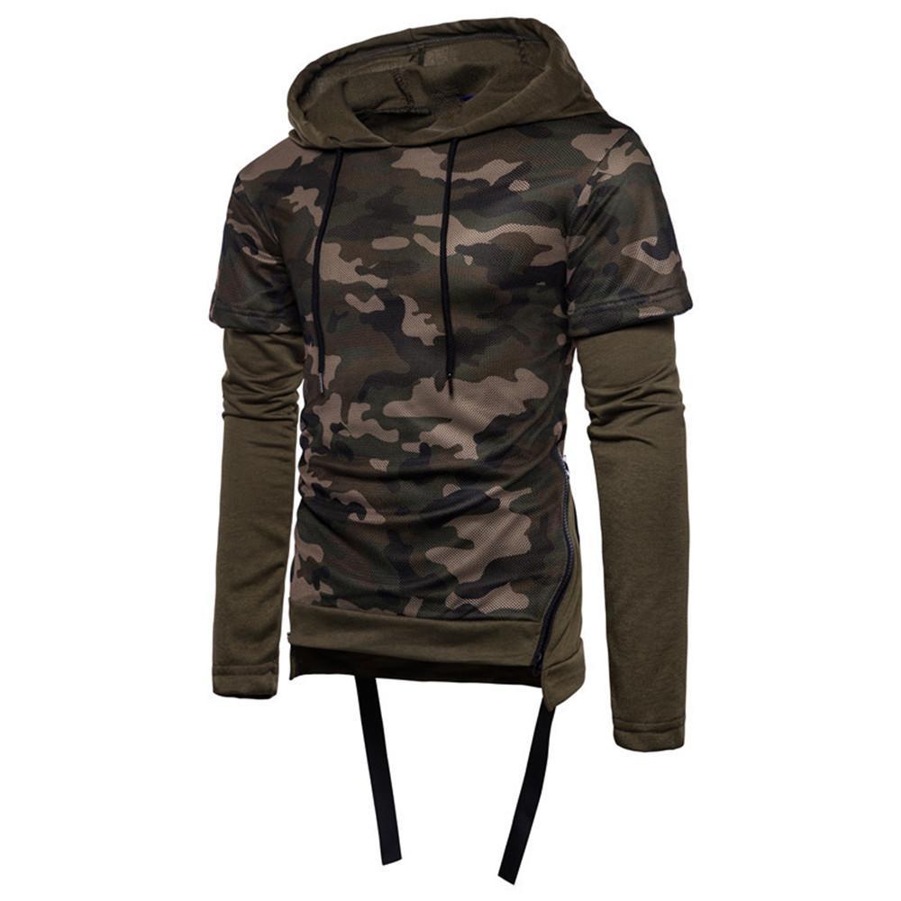 Camouflage Fake Two Piece Hooded Sweatshirt Men Casual Hip Hop Streetwear Novelty Hoodie Pullovers Punk Rock Fitness Hooded Tops