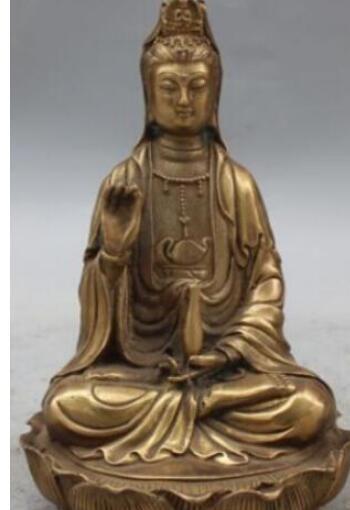 "8 ""Bronzo cinese sede Lotus Kwan-yin Bodhisattva Dea Vaso Statue"