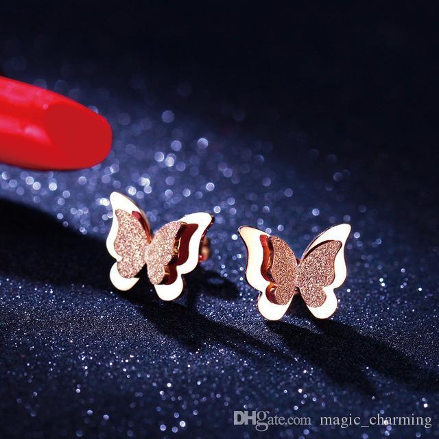 Gül Altın Renk Buzlu Kelebek Damızlık Küpe Kadın Kız için 316L Paslanmaz Çelik Moda Takı Solmaya Asla