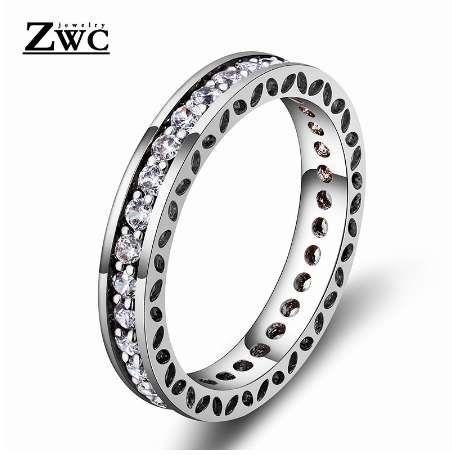 Zwc الأزياء الأنيقة مزاجه الكريستال البطانة الدائري للنساء الرجال حفل زفاف رومانسية بسيطة عالية الجودة الزركون عصابة المجوهرات