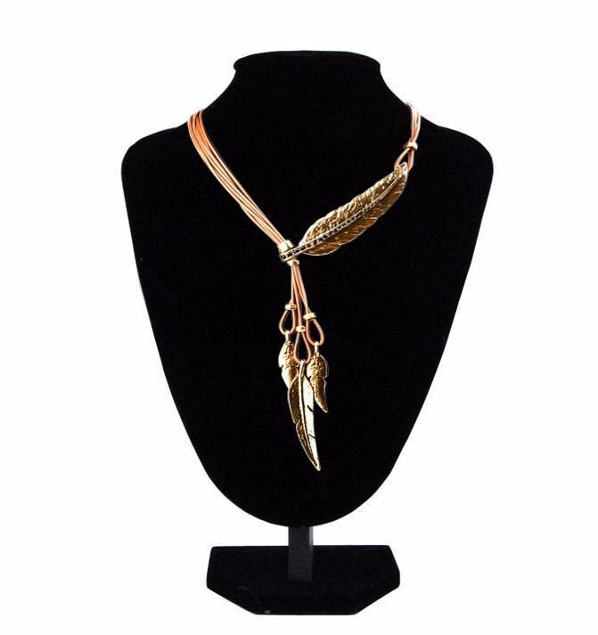 Piuttosto girocollo collane in lega piuma dichiarazione collane pendenti corda vintage collana catena d'oro collana accessori donna gioielli all'ingrosso