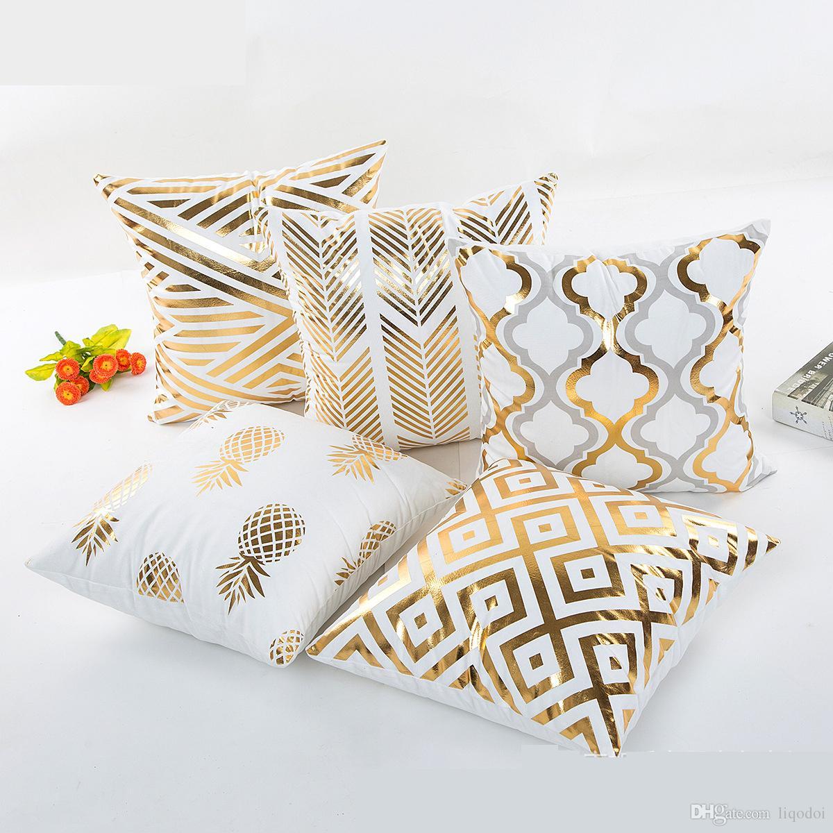 Supersoft Kadife Bronzlaşmaya Yastık Örtüsü Minder Örtüsü Ev Dekor Yastık Dekoratif Altın ve beyaz Renk Yastık Kılıfı