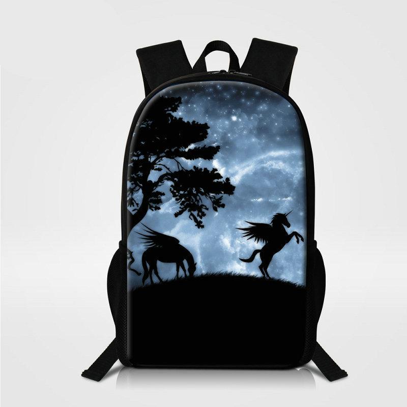 Новый дизайн двойной плеча мешок школы Горячие Unicorn Дети 16-дюймовый рюкзак для подростков девочек Для мальчиков Мужчины Открытый Bagpack Женщины Путешествия рюкзака