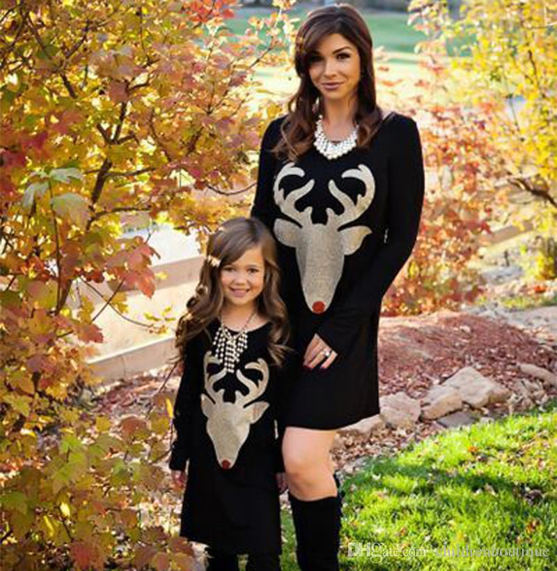 Christmas Day Family Matching Outfits Mother And Daughter Matching Clothes Long Sleeve Christmas Deer Head Dress Mom Baby Christmas Dresses