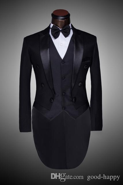 Custom Made Peaked Lapel Back Vent Black/White Tailcoat Men Party Groomsmen Suits in Wedding Tuxedos(Jacket+Pants+Tie+Vest) NO;311
