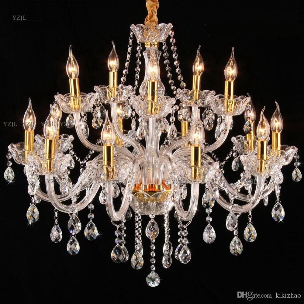 Żyrandol światła lampa kryształowy salon sypialnia restauracja książka Złoty przezroczyste kraty