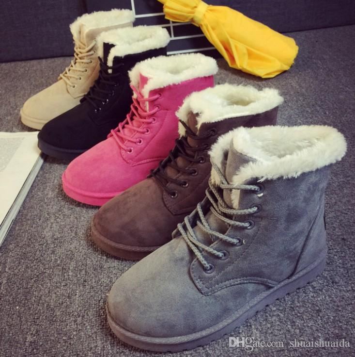 Women Winter Autumn Martin Ankle Boots Casual Work Flat Shoes H