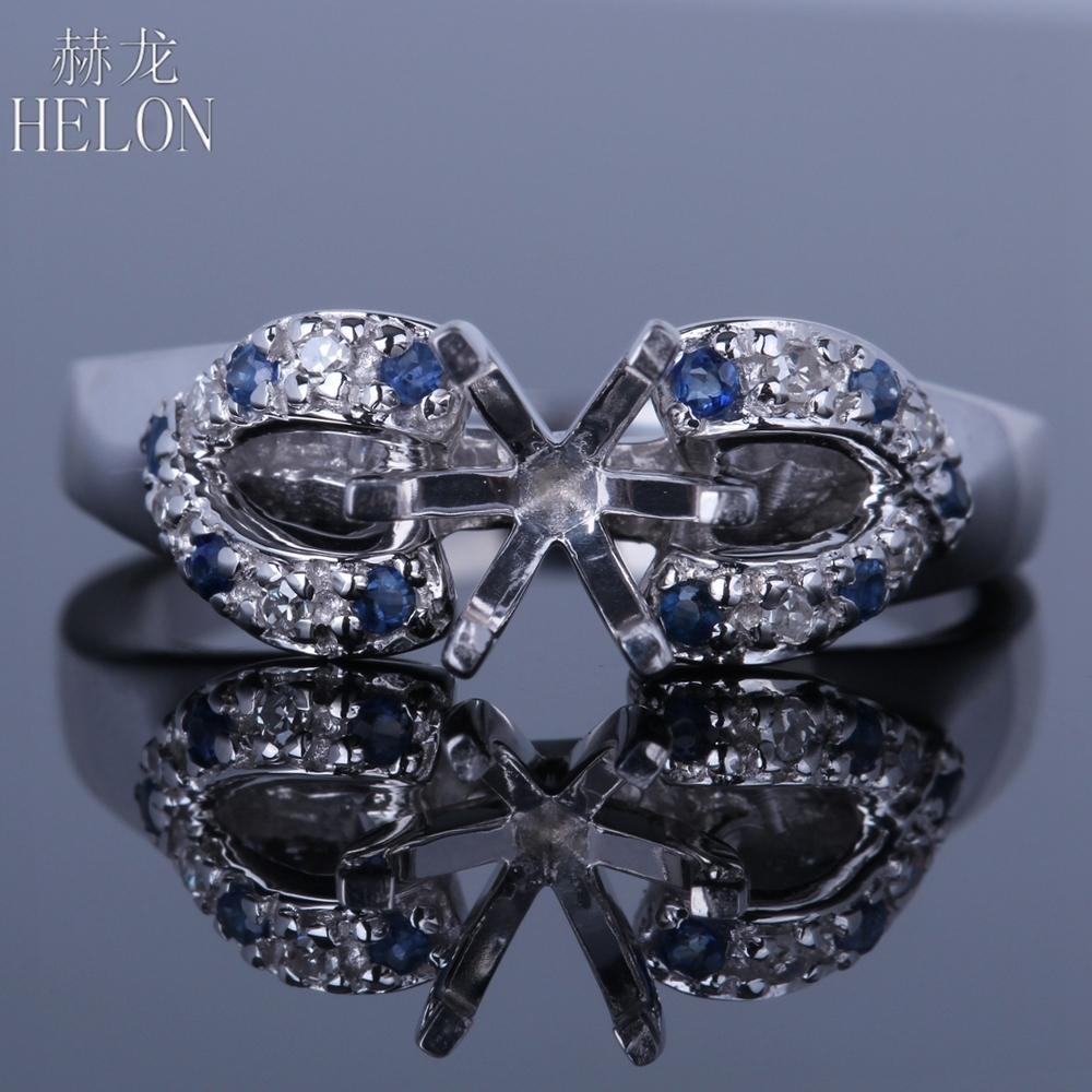 HELON Round Cut 6.5mm Semi Mount Solid 14K White Gold Pave 100% Genuine Natural Diamonds & Sapphires Engagement Wedding Ring