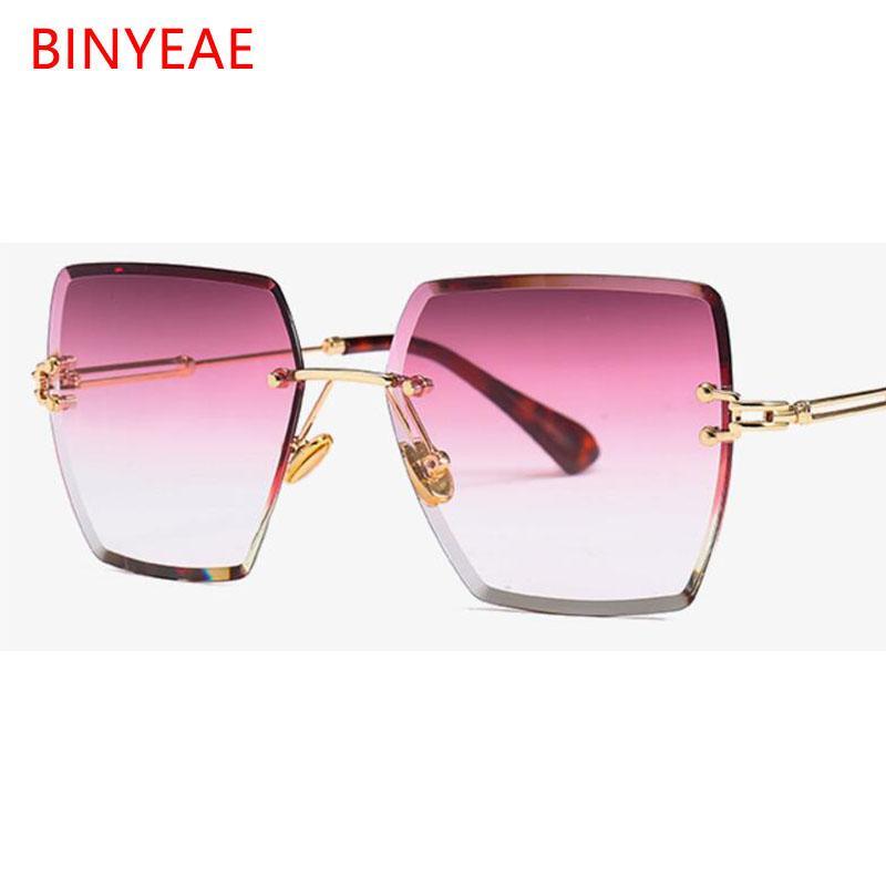 cristallo rimless quadrato da sole lenti gradiente trasparenti occhiali da sole chiari per donne annata occhiali grandi donne