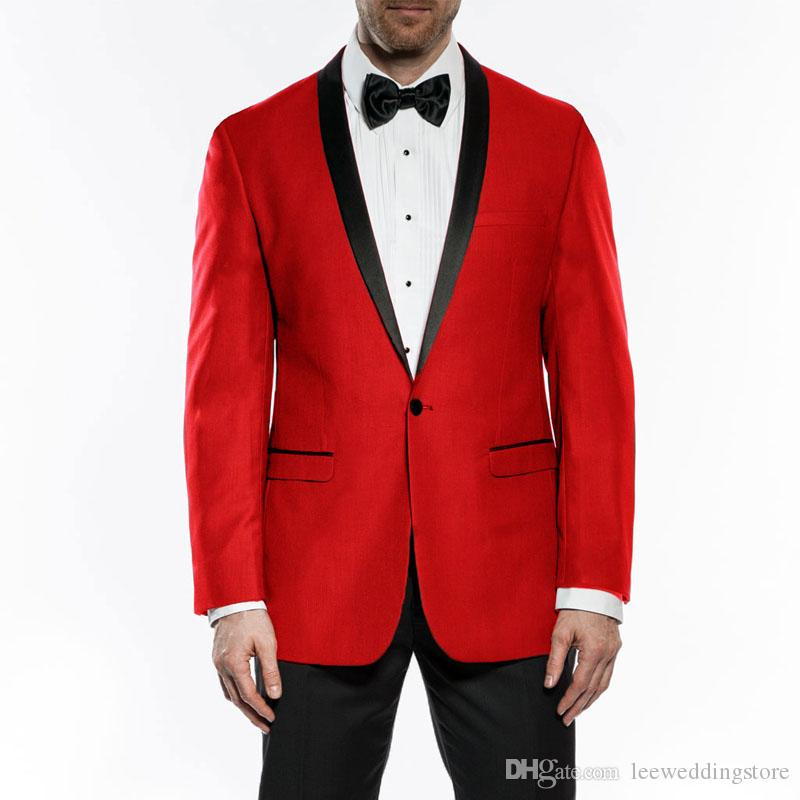 2018 Men Suits Red Shawl Lapel Wedding Suits For Man Bridegroom Slim Fit Formal Custom Made Tuxedos Best Man Evening Dress Prom 2Pieces