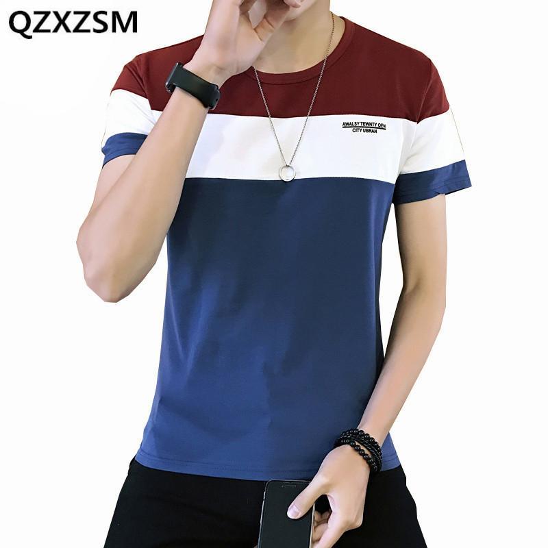 Homens camisetas qxxzsm 2021 verão homens camiseta casual luta cor de algodão tee manga curta fina fit t-shirt O-pescoço