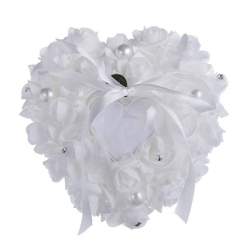 Love Life Pearl Rose Ring Box PE Foam Flower Ring Heart Shaped Cake Ring Box Romantic Wedding