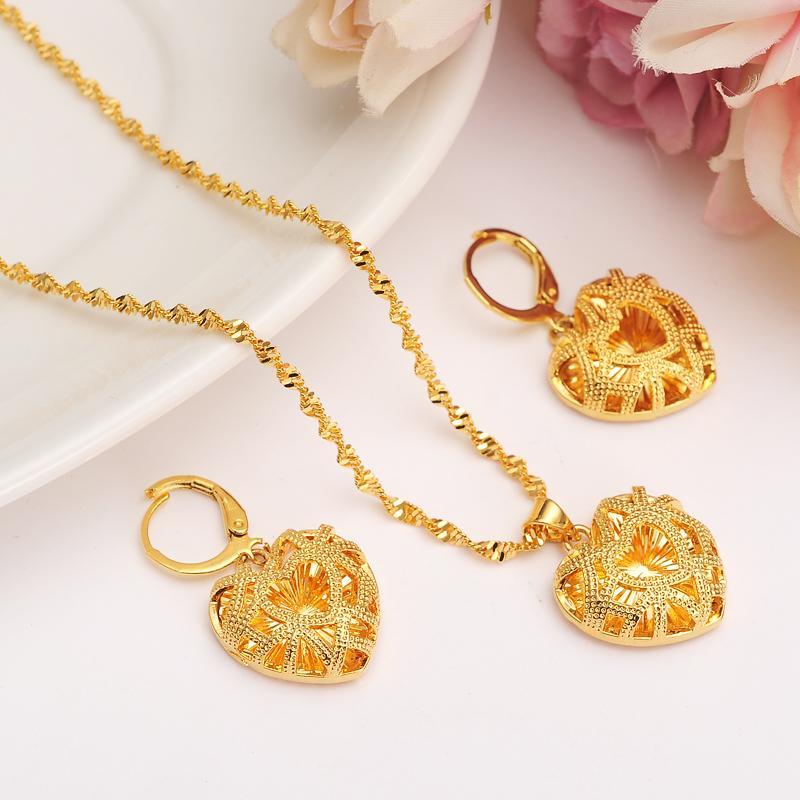african Habesha Set Ethiopia heart pendant Necklace/Earrings Gold Color Dubai Sudan women girls Wedding bridal jewelry Gift