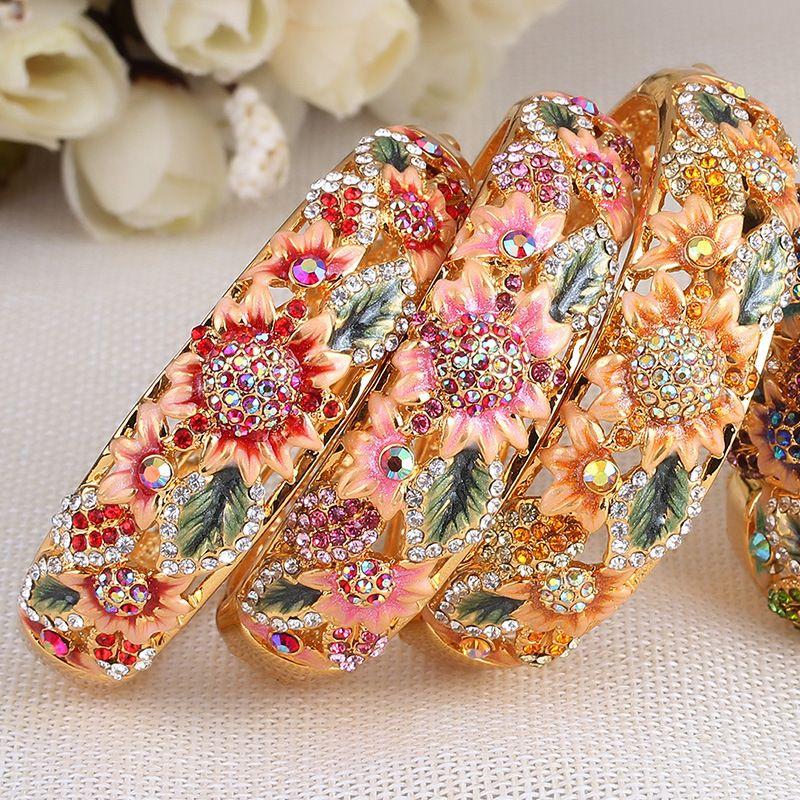 Frauen Cloisonne vergoldet Armband Koreanische Mode Armbänder Hochwertige Diamantschmuck Großhandel