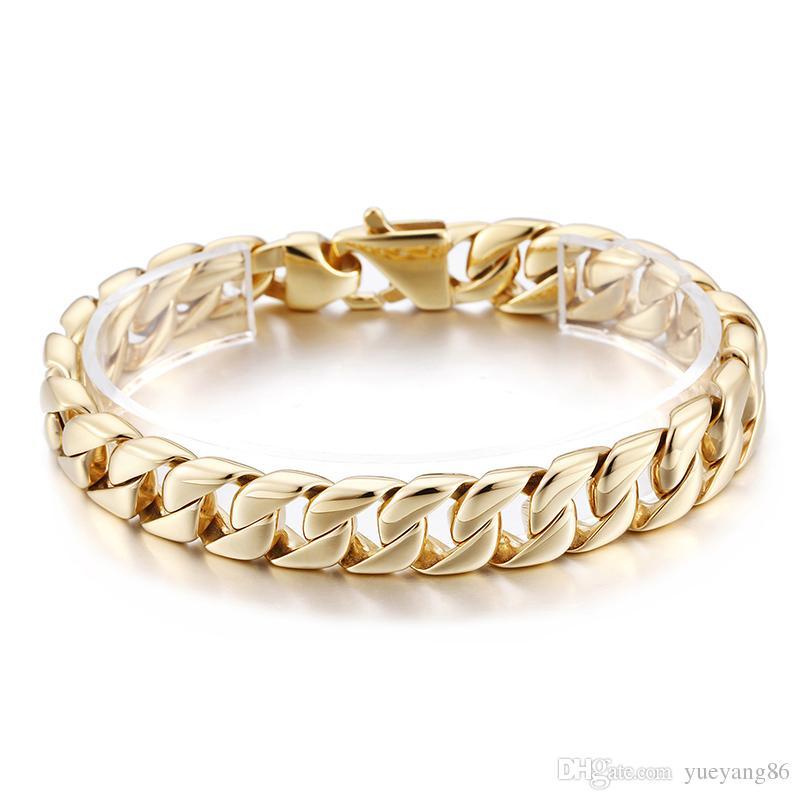 Best seller 23 cm (9 pollici) 12mm oro moda in acciaio inox cubano cordolo catena a maglia bracciale donna mens jewlery silve / oro