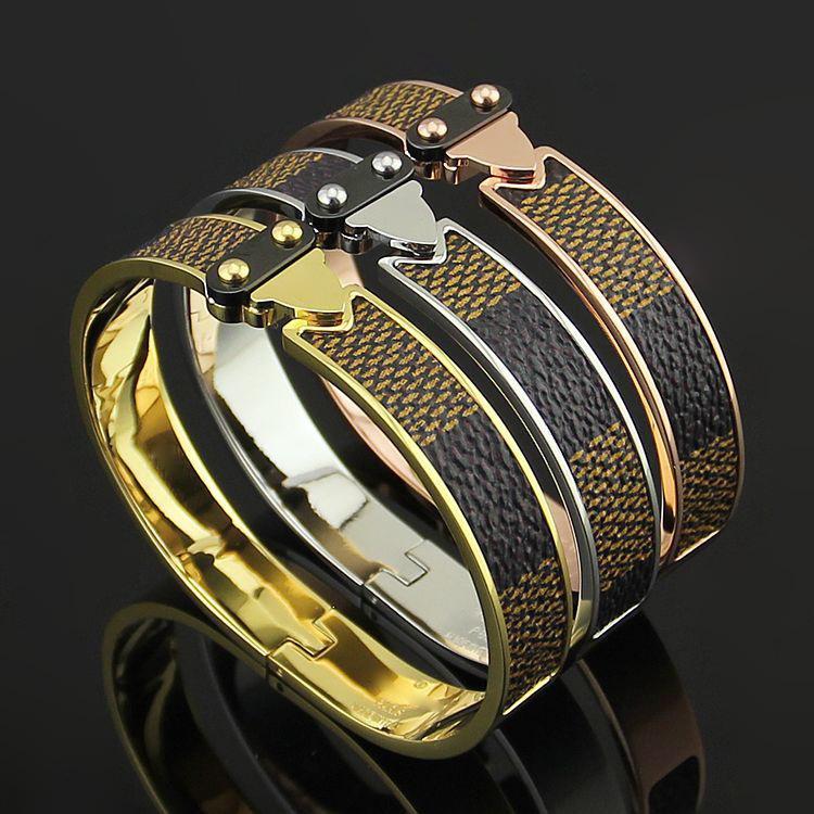 Sell like hot Arrival Leather Titanium Steel 18K Rose Gold love Bracelets For Women Men femme Jewelry Charm bracelets bangles