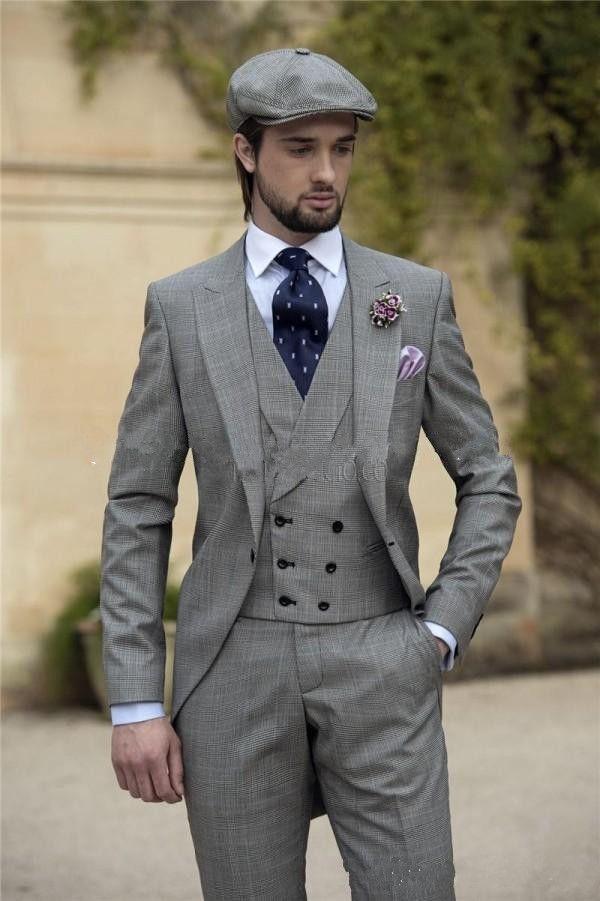 Morning Style One Button Light Grey Groom Tuxedos Tailcoats Peak Lapel Best Groomsmen Wear Mens Wedding Suits (Jacket+Pants+Vest)