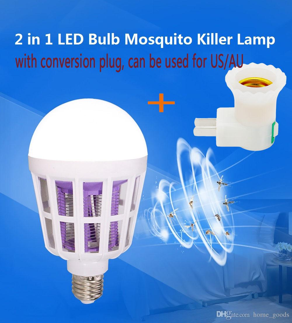 Electronic Pest Repeller Mosquito Killer Lamp 2 in 1 E27 LED Bulb 220V 110V Zapper Anti Insect Bug Wasp with Conversion lamp plug