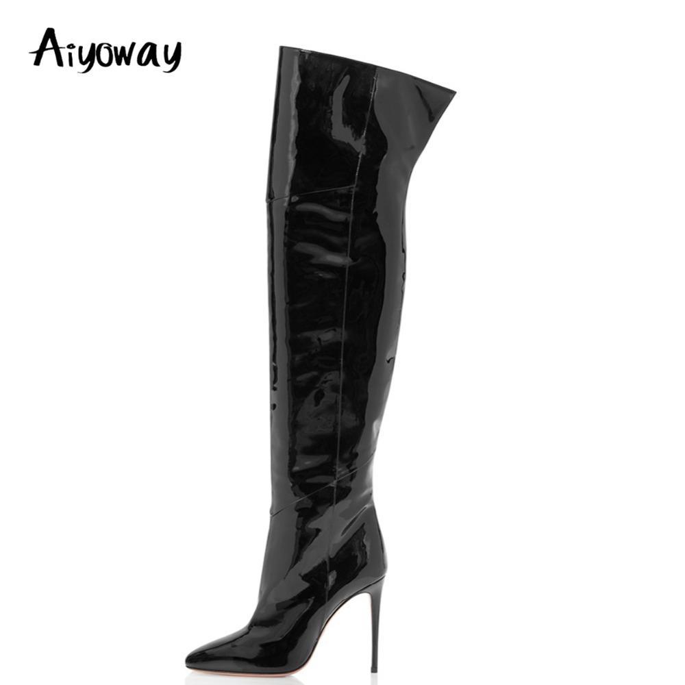 Aiyoway Moda feminina Ladies Sapato de bico fino salto elevado sobre o joelho couro preto Botas Ankle Zip Inverno Coxa alta botas longas