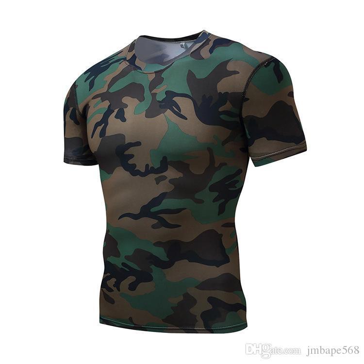 JM Açık tayt vücut geliştirme takım elbise erkek kısa kollu kamuflaj formalar terleme hızlı kuru basketbol koşu T-Shirt