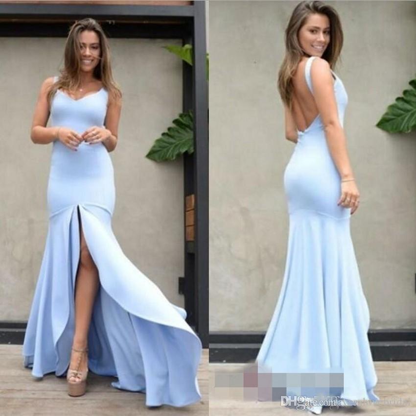 Vestido Madrinha De Casamento Alto Dividir Luz Céu Azul Vestidos De Noite Sem Encosto Longo Sereia 2019 Novo Mondern Design Prom Vestidos Formais