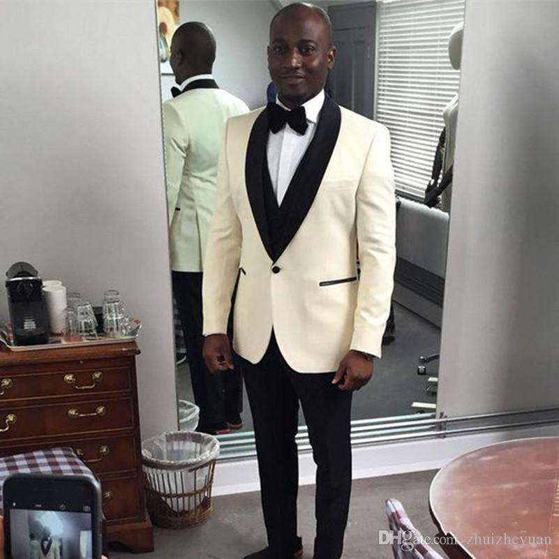 Custom Made Ivory Groom Tuxedos Black Shawl Lapel Groomsmen Wear Best Man Suits Men Wedding Suits (Jacket+Pants+Vest+Tie)