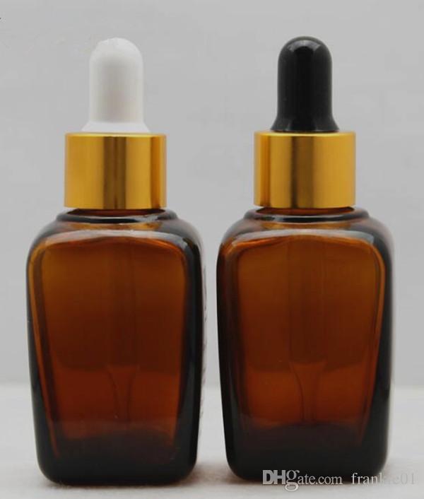 Frasco cuentagotas de vidrio ámbar cuadrado 30ml 1 oz. Con tapa dorada. Goma blanca / negra para el aceite esencial vey ejuice.