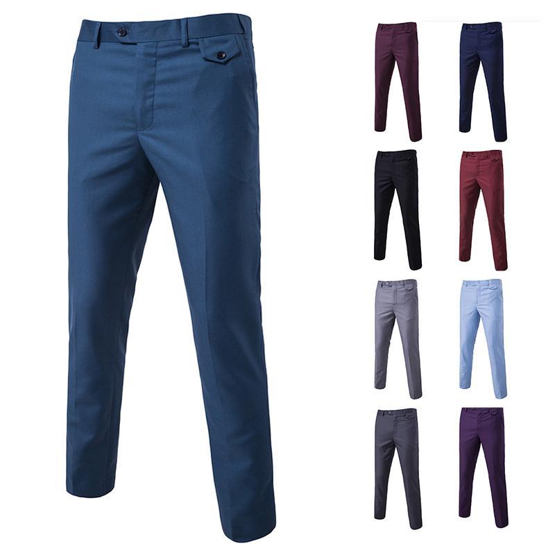 Compre Pantalones De Vestir De Los Hombres Negros Slim Fit Primavera Otono Pantalones De Traje De Trabajo Para Hombres Oficina Bussiness Tallas Grandes Pantalones De Boda Hombre A 24 26 Del Vincant