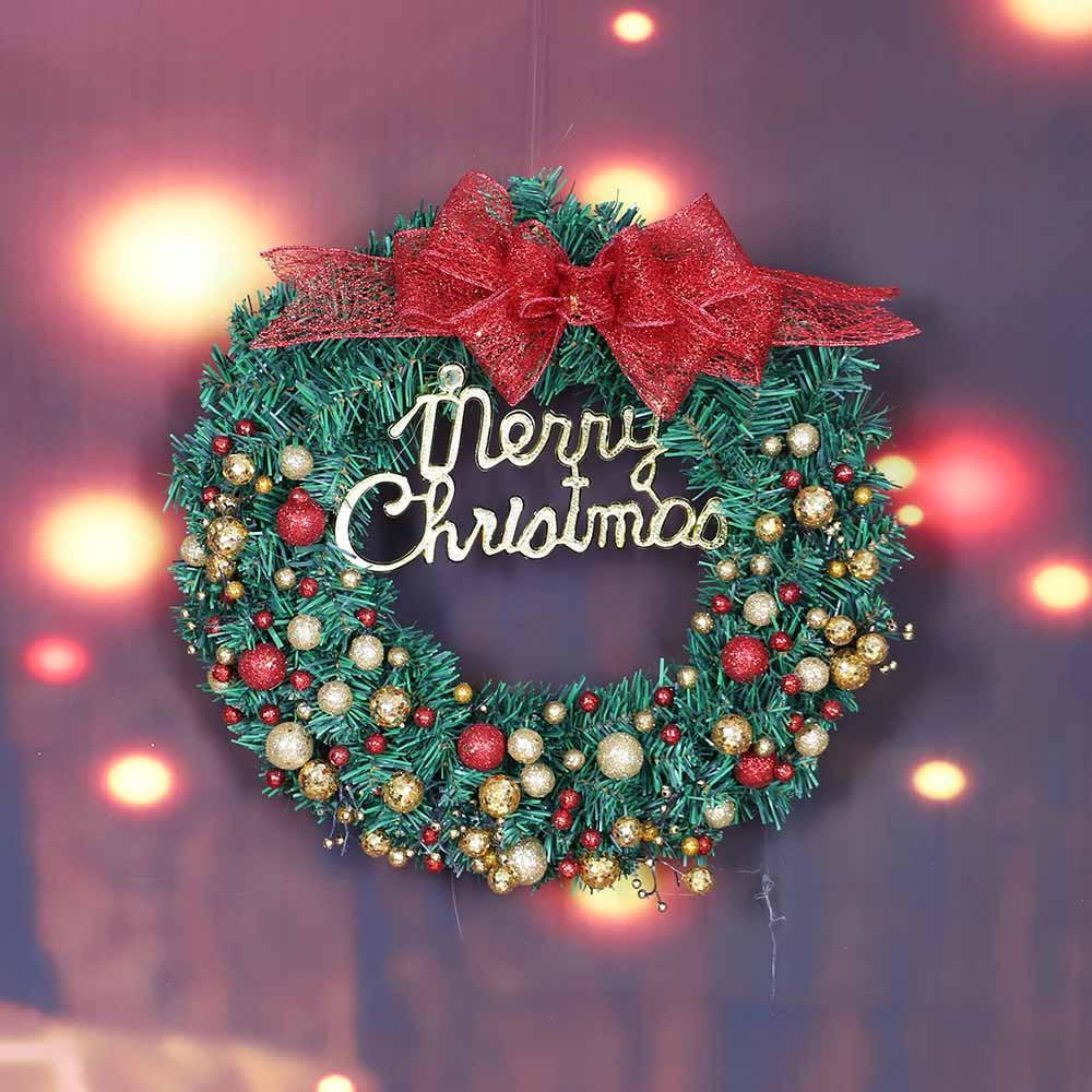 Feliz Navidad Guirnalda 40 cm Puerta de la ventana Decoraciones Adorno de bolas de polvo dorado Flores secas artificiales Decoraciones navideñas